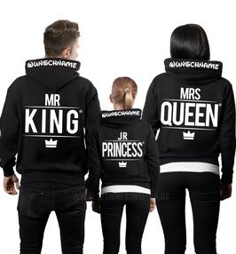 "3ER HOODIE SET ""MR.KING-MRS.QUEEN-JR.PRINCE""+ KAPUZENDRUCK"