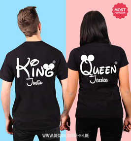 2 x T-SHIRTS - KING & QUEEN + WUNSCHNAMEN