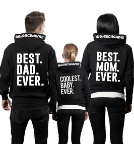 "3ER HOODIE SET ""BEST MOM-DAD-COOLEST""+ KAPUZENDRUCK"