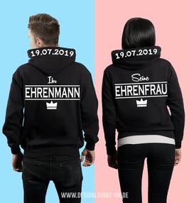 """2 x HOODIES """"EHRENMANN & EHRENFRAU"""" + WUNSCHDATUM"""
