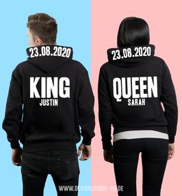 """2 x HOODIES """"KING & QUEEN"""" 2020 + WUNSCHNAMEN"""