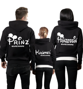 "3ER HOODIE SET ""PRINZ-PRINZESSIN-KRÜMEL""oo + WUNSCHNAMEN"