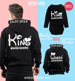 """2ER HOODIE SET """"KING & KING/QUEEN"""" oo + WUNSCHNAMEN"""