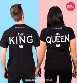 "2 x T-SHIRT SET ""THE KING & HIS QUEEN"" + NAME/DATUM AM NACKEN"