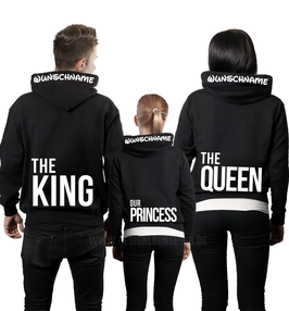 """3ER HOODIE SET """"THE KING-THE QUEEN-OUR PRINCE(ESS)"""" LOW+ KAPUZENDRUCK"""