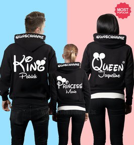 3ER HOODIE SET - KING-QUEEN-JR. oo + WUNSCHNAMEN