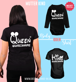 "2ER T-SHIRT SET ""QUEEN & KING/QUEEN"" oo + WUNSCHNAMEN"