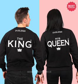 2 x SWEATSHIRTS - THE KING & HIS QUEEN + WUNSCHTEXT NACKEN