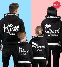 4´ER FAMILIEN HOODIE SET MIT - KING - QUEEN - PRINCE - PRINCESS + WUNSCHNAMEN