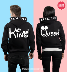 "2 x HOODIES ""KING & QUEEN"" oo + WUNSCHDATUM"