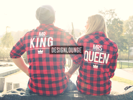 "2 x Hemd Checked Flannel Shirt ""Mr King & Mrs Queen"""