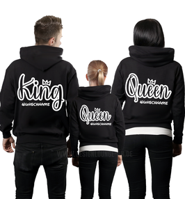 "3ER HOODIE SET ""KING-QUEEN-PRINC(ESS)"" OUTLINE + WUNSCHNAMEN"