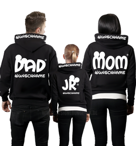 "3ER HOODIE SET ""MOM-DAD-JR""oo + WUNSCHNAMEN"