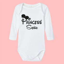 "STRAMPLER MIT ""Princess""oo + Wunschname"