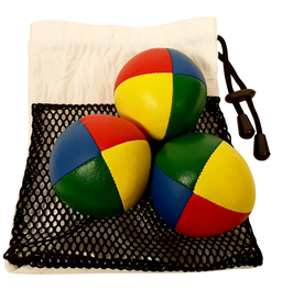 Jonglierbälle vierfarbig im Set mit Beutel