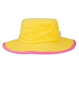 Frottee-Hut (gelb/Pink)