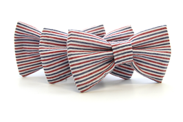 Seersucker Red, White & Blue Bow Tie