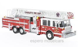 "Smeal 105 Rear Mount Ladder 2014 rot / weiss ""Charlotte Fire Department"""
