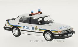 Saab 900i Sedan Phase II 1987-1991 Polis Stockholm weiss / blau / gelb