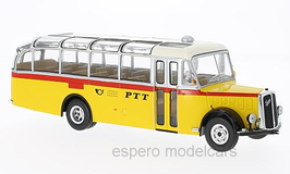 "Saurer L4C Reisebus 1951 ""Postauto PTT Schweizer Post gelb / rot / weiss / silber"