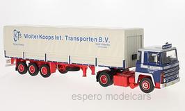"""Scania LBT 141 LKW Zugmaschine 1976 mit Auflieger """"Wolter Koops NL"""" blau / rot / weiss"""