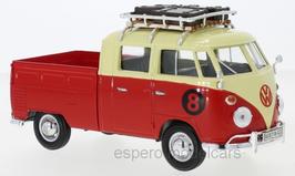 VW T1b Pick Up Doka 1961-1963 #8 rot / beige mit Gepäckträger