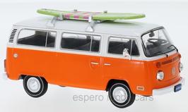 VW T2b Bus Kombi 1972-1979 orange /weiss mit Surfbord