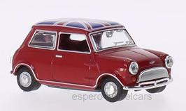 Austin Mini MK I 1959-1967 RHD dunkelrot / mit Union Jack Flagge auf dem Dach