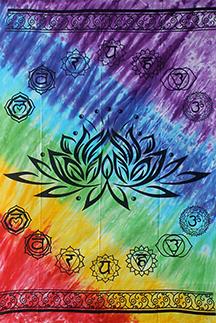 Wandkleed Lotus met de 7 chakrakleuren.