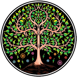 Wandkleed (tapestry) tree of life rond.