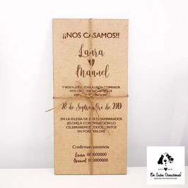 Invitación madera (color madera)