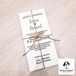 Invitación madera (color blanca)