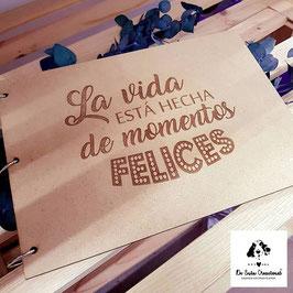 Libro de firmas en madera la vida esta hecha de momentos felices 1