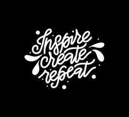 Aufkleber Lettering: Inspire-create-repeat