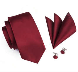 SET CRAVATE ROUGE-BORDEAUX  100% SOIE