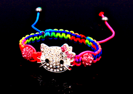 BRACELET TRESSÉ MULTICOLORE CHAT