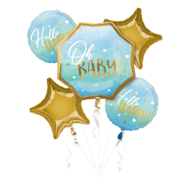 "New! Bouquet de 5 ballons Alu  ""Oh Baby Boy"""