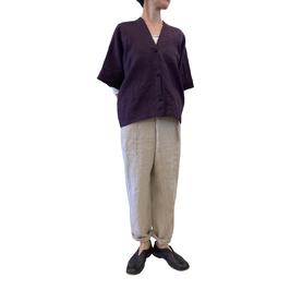 貫頭衣 ショート リネン 葡萄色