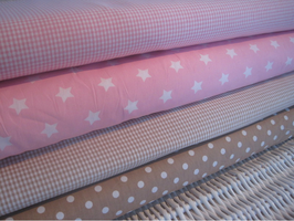 68/ Stoffset rosa/beige Vichy/Sterne/Vichy/Punkte