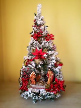 Albero di Natale con statue Natività modello Zaffiro