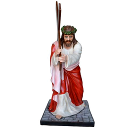 Statua Gesù cadente cm. 127 in vetroresina