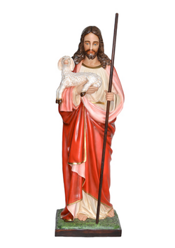 Statua Sacro Cuore di Gesù buon pastore cm. 160 in vetroresina
