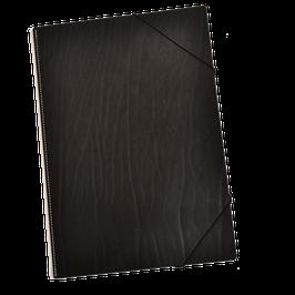 Eckspannmappe A4 aus schwarzem Sattellleder