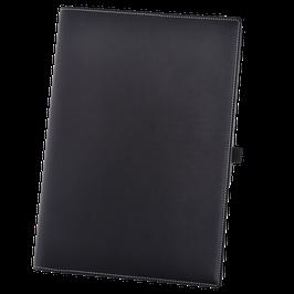 Notizbuchhülle aus schwarzem Glattleder für A4