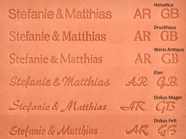 Initialen-/ Namens-Prägung für Visitenkartenbuch