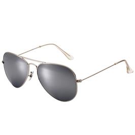 Trendy zilveren pilot bril met zilveren glazen