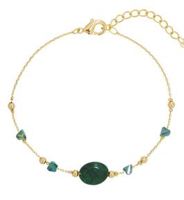YG-02001 Armbandje goudkleurig trendy Sparkle and Shine Groene steen met gouden balls