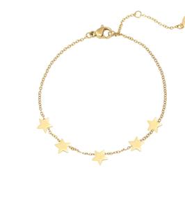 YG-02008 Goudkleurig trendy armbandje met kleine sterren bedeltjes Stars