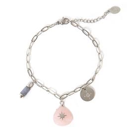 Armband zilver kleurig trendy pure life roze steen met bedels