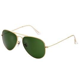 Trendy gouden pilot bril met groene glazen